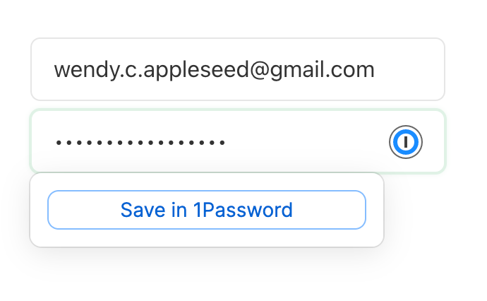 Saving a login inline with 1Password