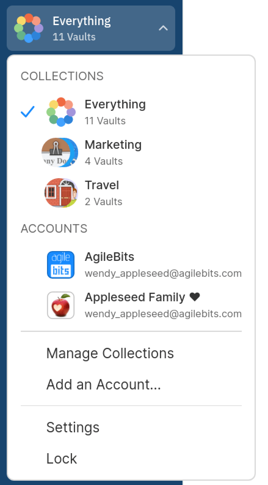 your collections and accounts menu in the sidebar