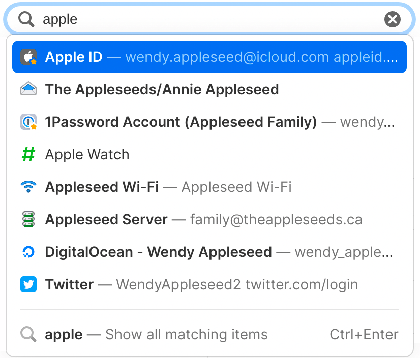 Search 1Password to find what you need