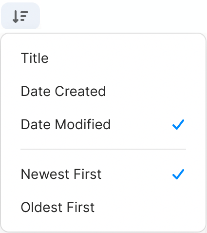 Sort items by date modified