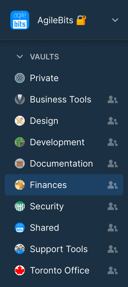 Vaults listed in the sidebar
