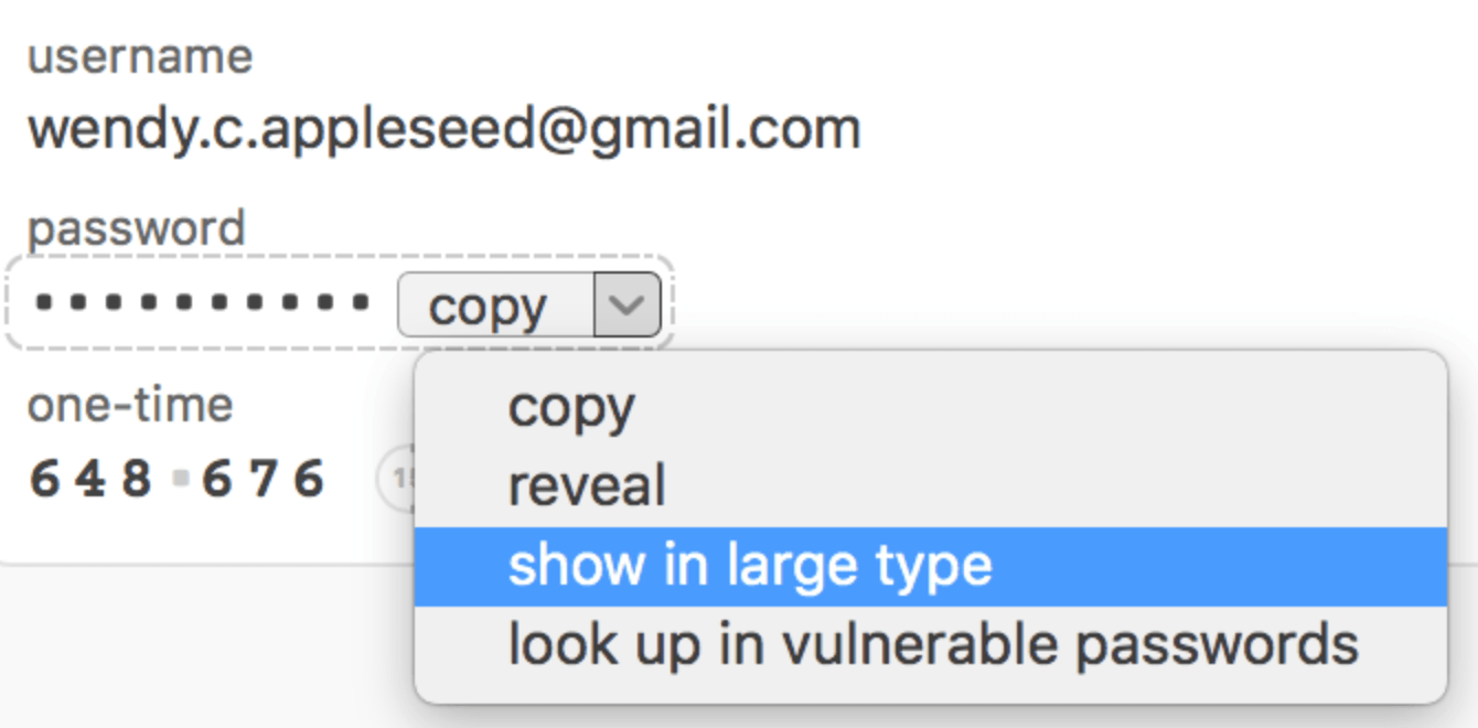 Click 'show in large type' to enlarge passwords