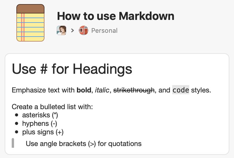 Use Markdown to format notes
