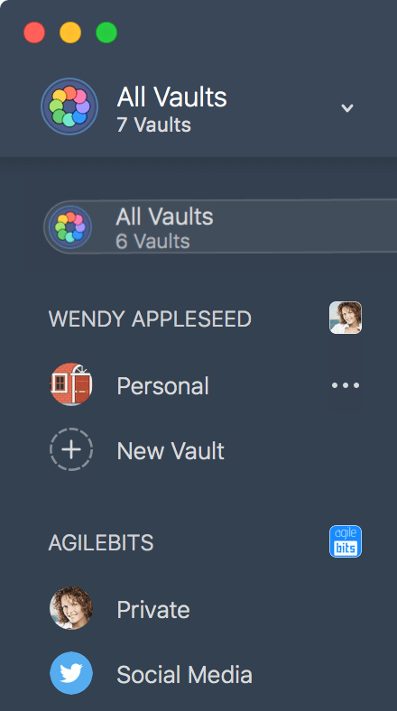 vaults in the sidebar in 1Password for Mac