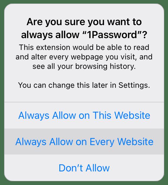 Turn on 1Password for Safari