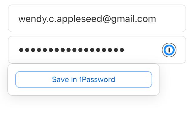 Saving a login inline with 1Password for Safari