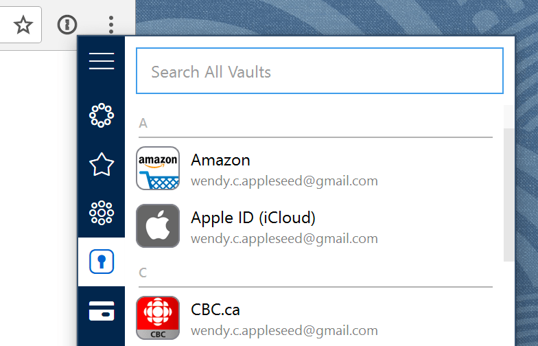 1Password extension ready to fill a password