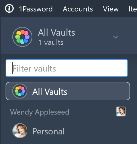 List of vaults in the sidebar