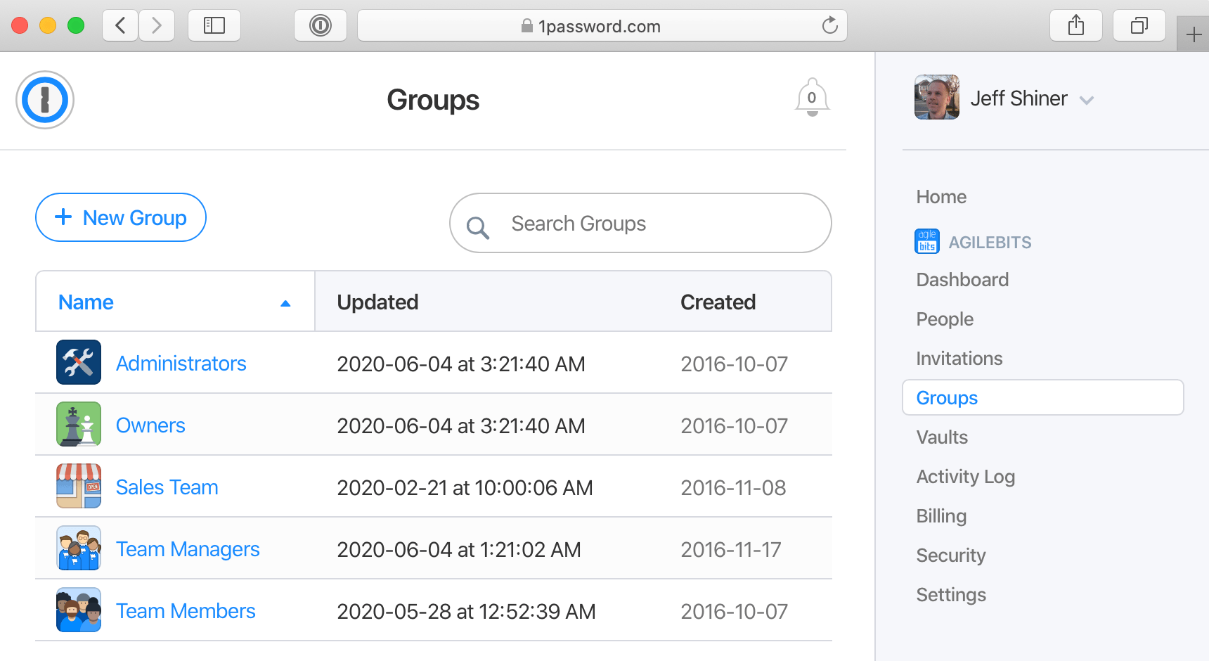 List of groups on 1Password.com