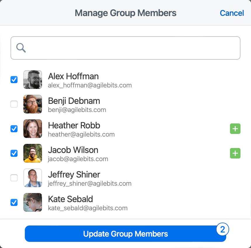 Select group members