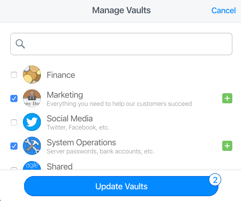 Give a group access to vaults