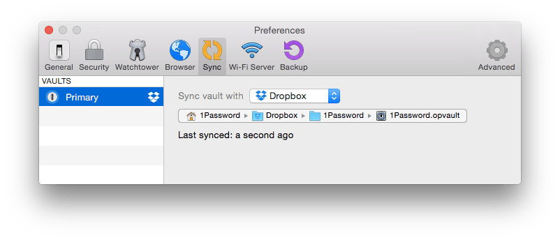 1Password Sync preference pane