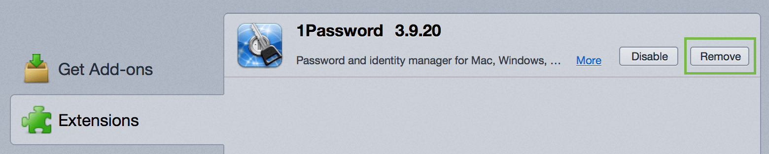 the 1Password extension on the Firefox Extensions page