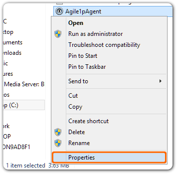 Agile1pAgent selected, with the right-click menu open highlighting Properties