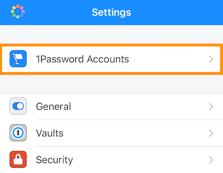 Account 1Password Account nelle Impostazioni