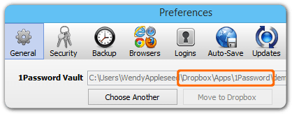 the General tab in the Preferences window with \Dropbox\Apps\1Password highlighted in the path for the 1Password vault