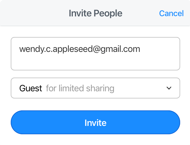 Enter the emails of the people you want to add as guests