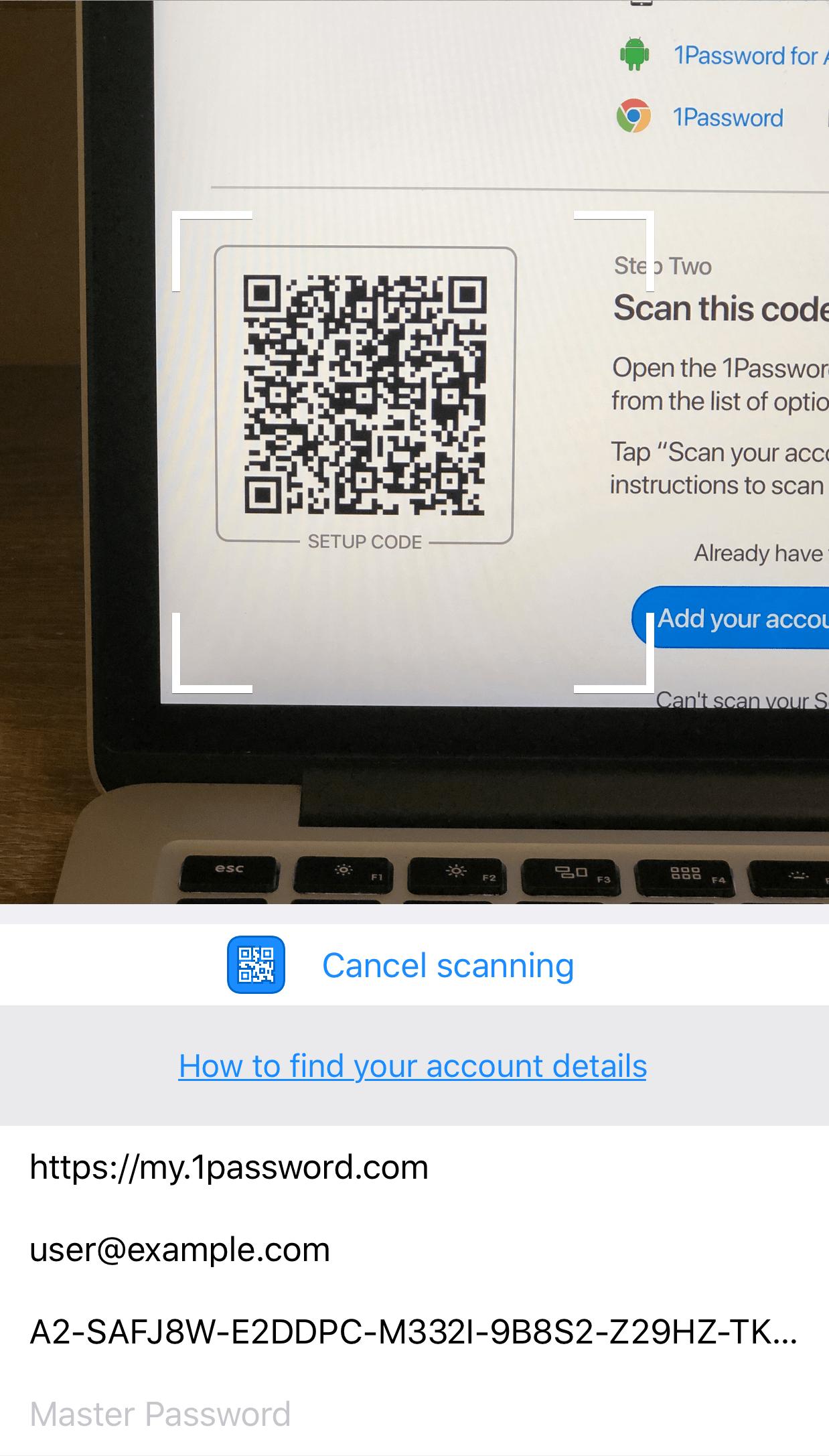 Следуйте инструкциям на экране, чтобы найти и отсканировать код настройки аккаунта (Setup Code)