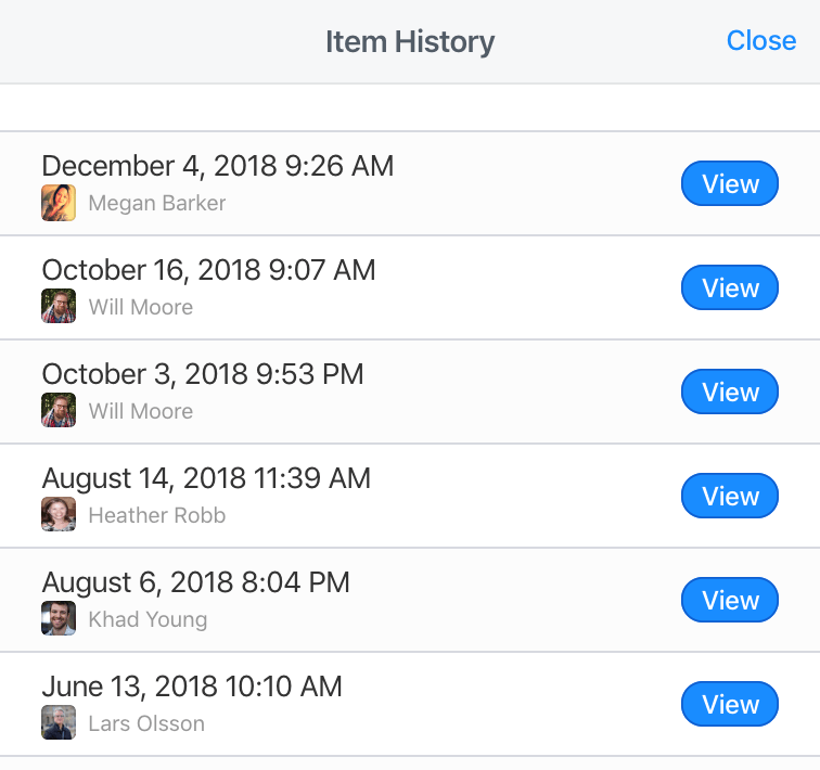 Item history on 1Password.com