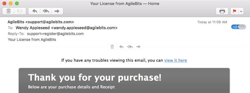 License email showing Mac and Windows license instructions