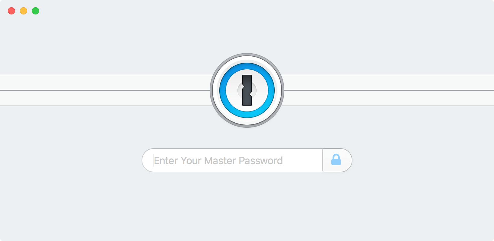 The 1Password lock screen