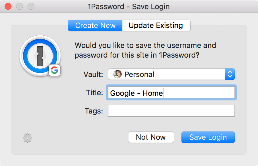 1Password - Save Login pop-up
