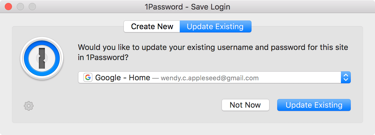 1Password - Update Existing pop-up