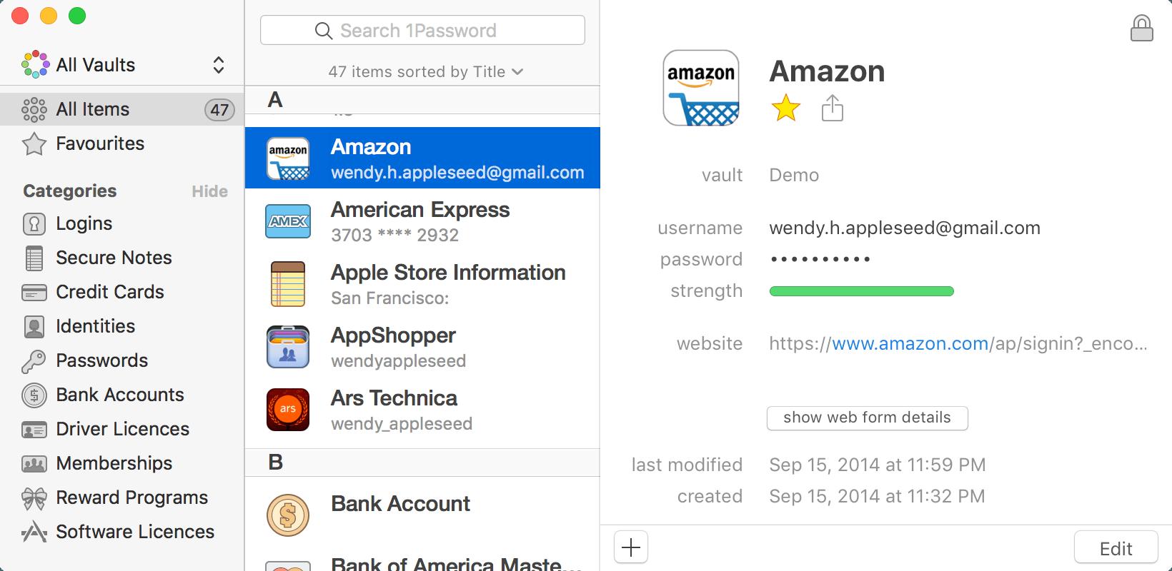 Lorsque Vous Ouvrez 1Password Verrez Une Liste Contenant Tous Vos Elements Tels Que Mots De Passe Et Cartes Credit