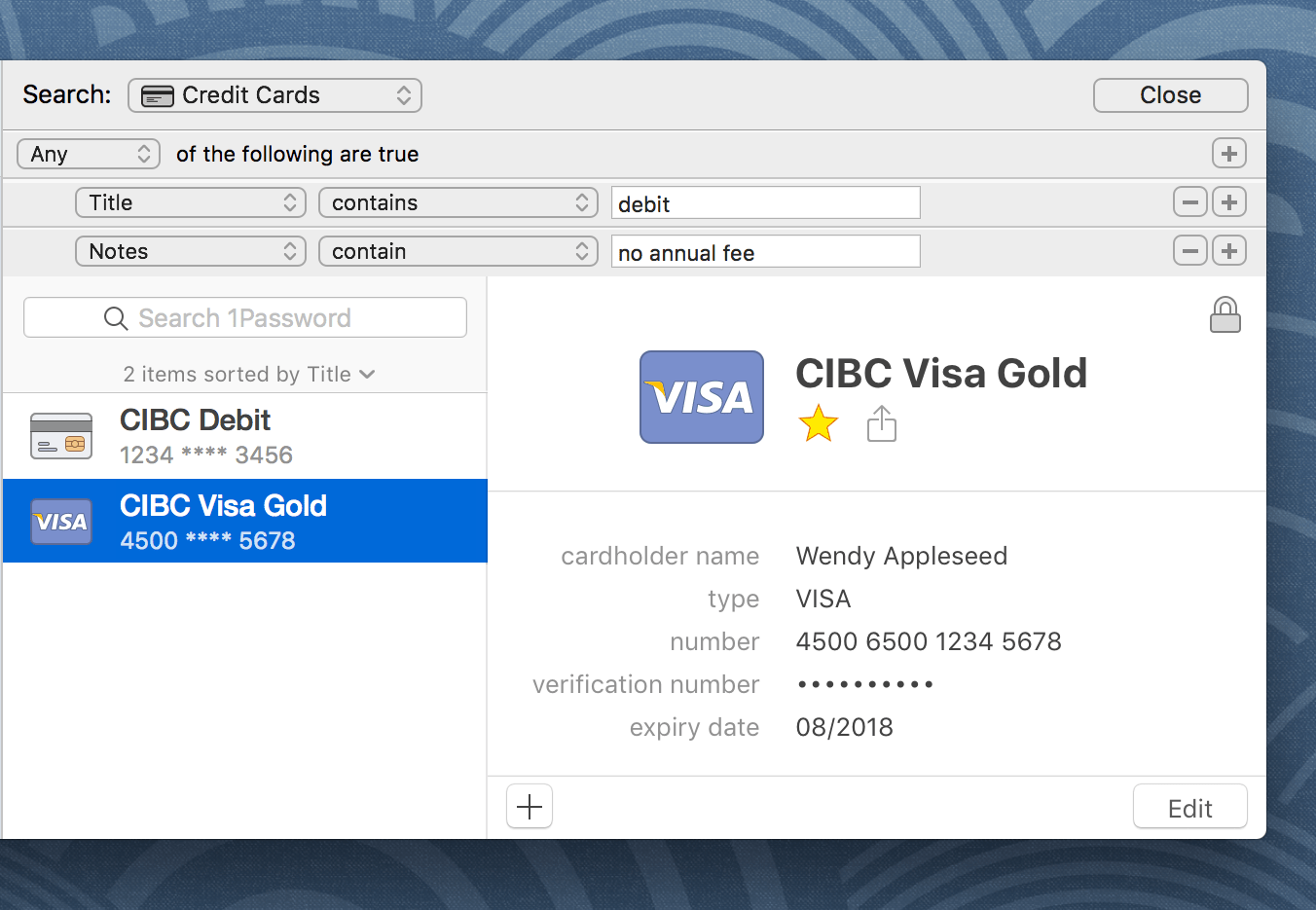 An advanced search for Credit Card items with either 'debit' in the title or 'no annual fee' in the notes