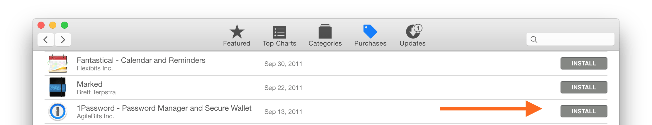 Purchases tab in the Mac App Store