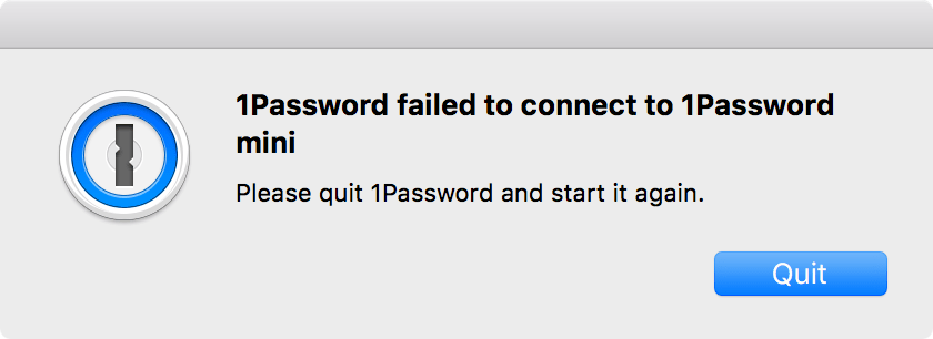 1Password failed to connect to 1Password mini