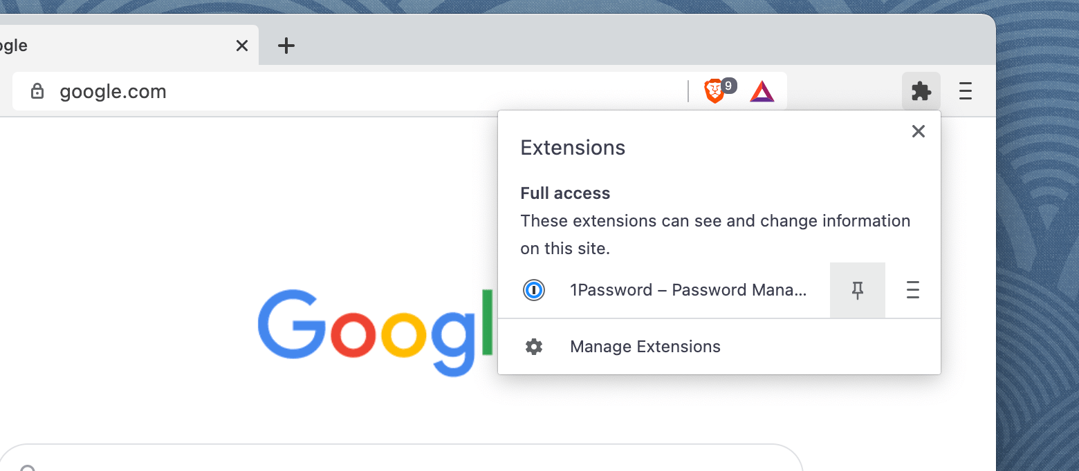 Add the 1Password button to the toolbar in Brave