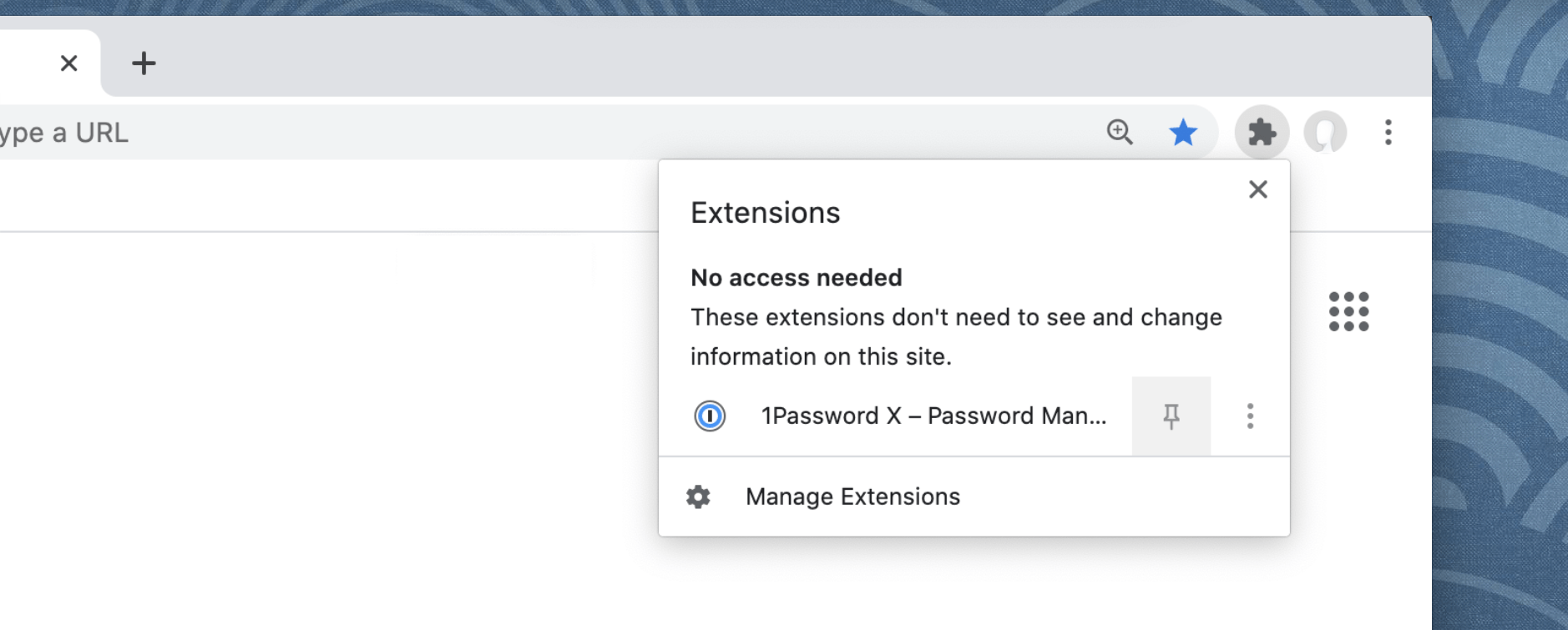 Add the 1Password button to the toolbar in Chrome