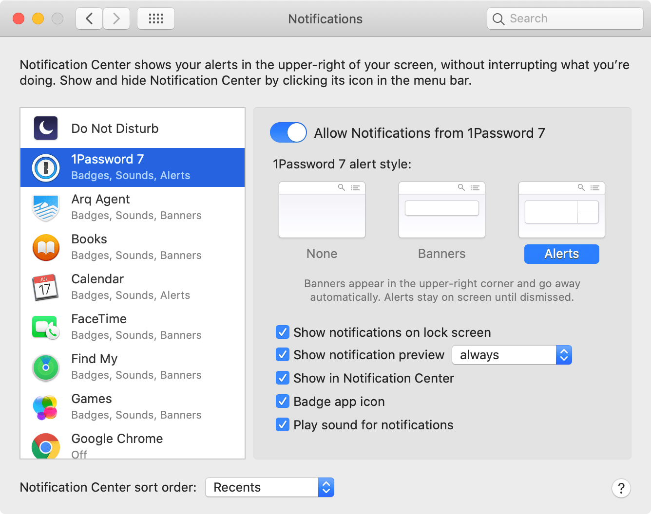 Notification preferences on macOS