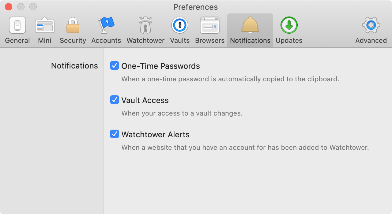 Notification settings in 1Password for Mac