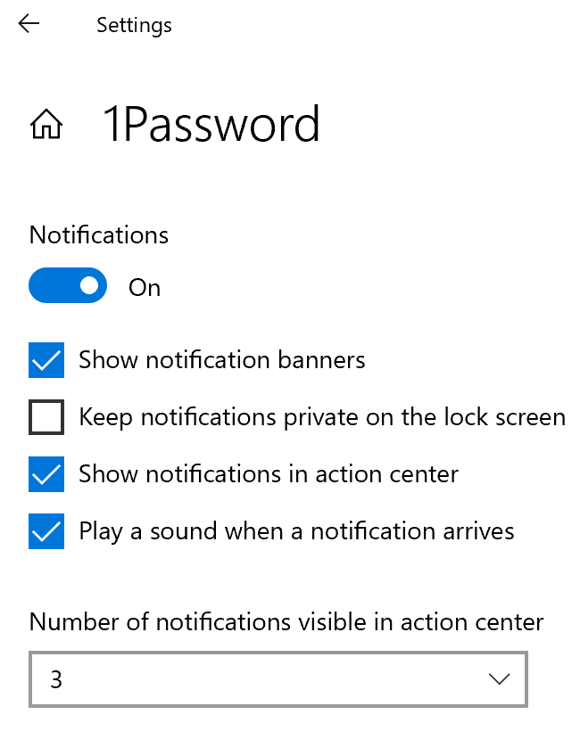 Notification settings on Windows