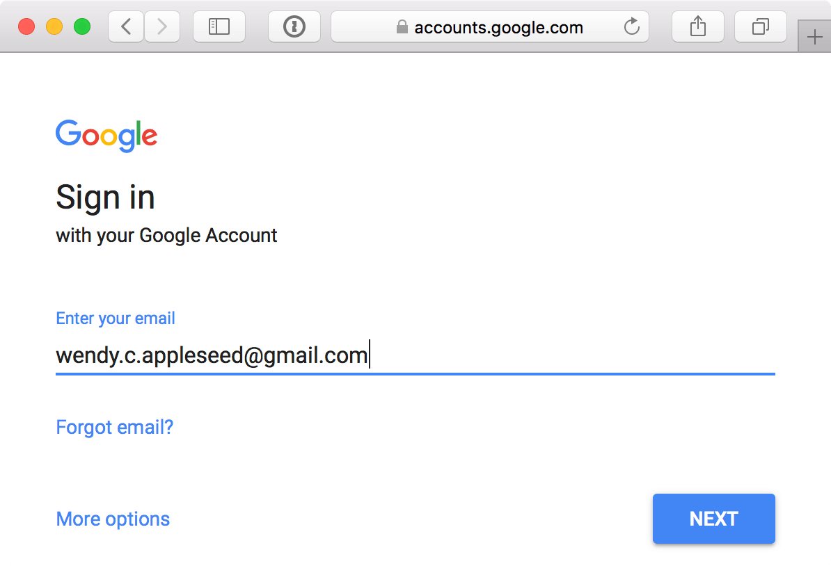 Google sign-in page – enter email prompt