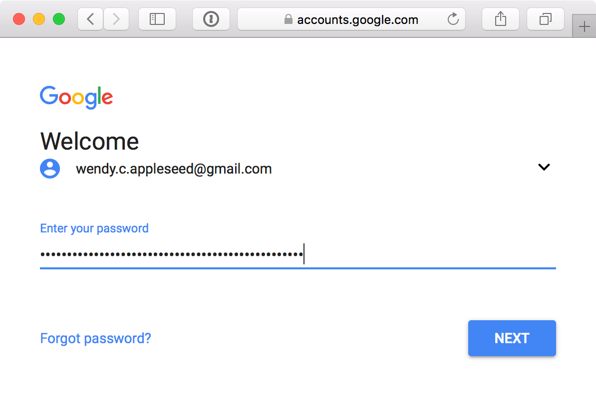 Google sign-in page – enter password prompt