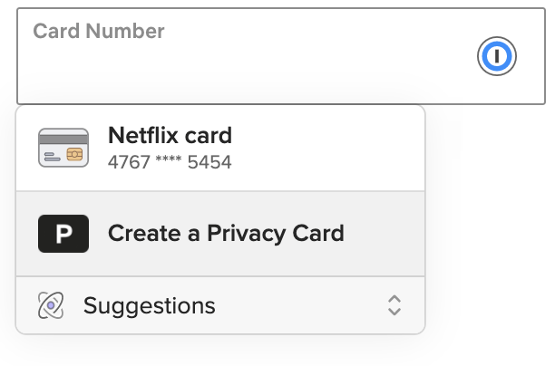 Fill a saved Privacy card from the inline menu
