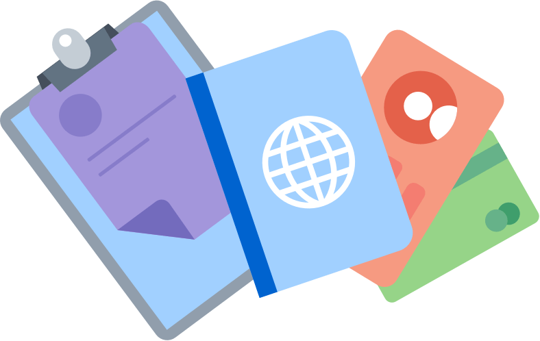 Document, passport, and driver's license icons