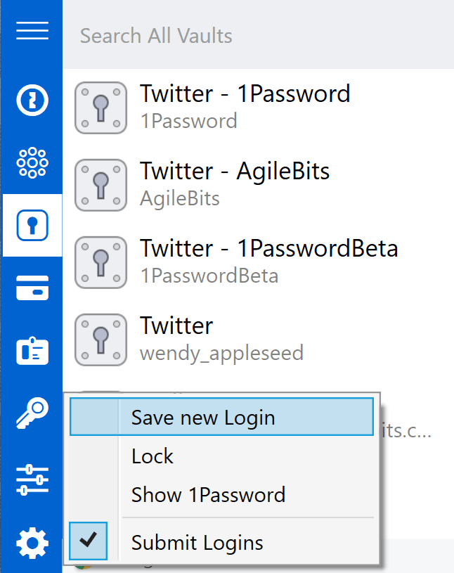1Password mini after clicking the gear icon, with 'Save new Login' selected