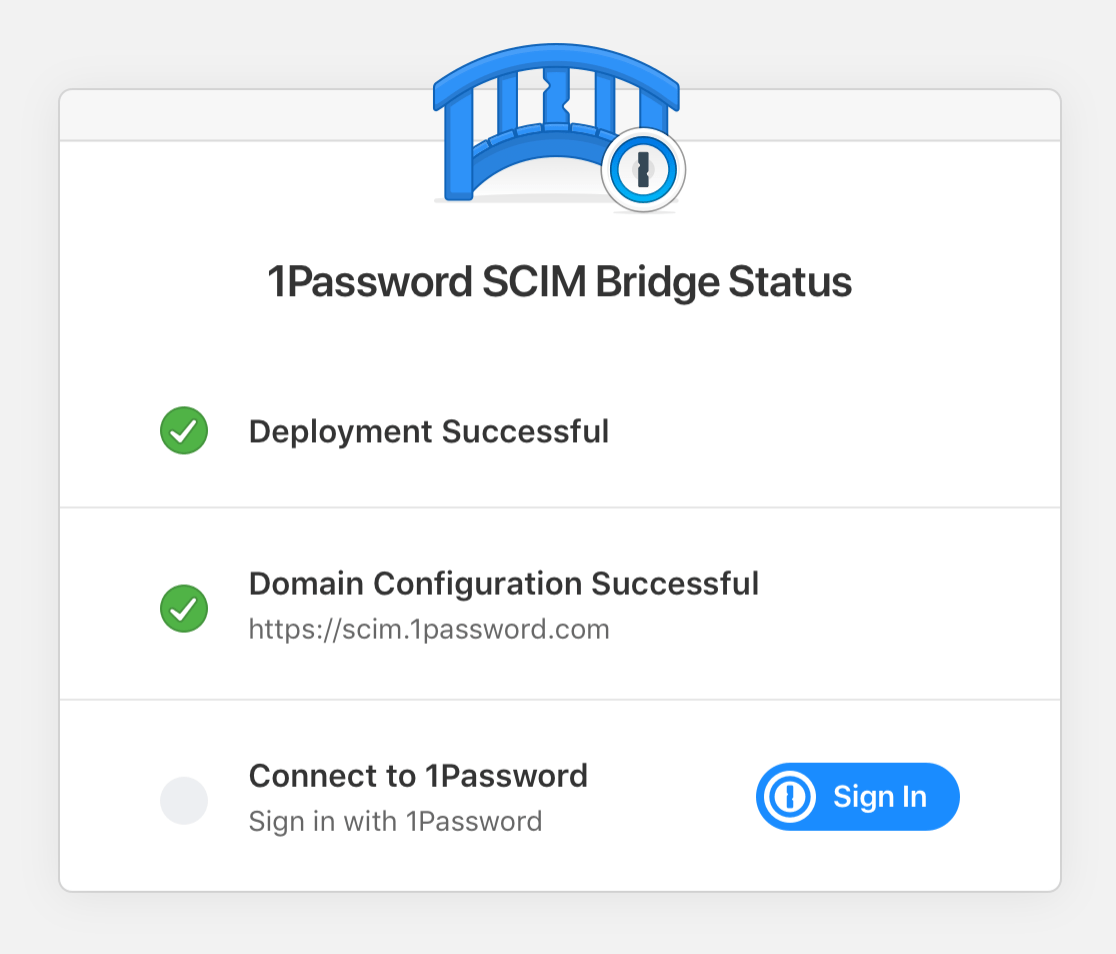 1Password SCIM Bridge Status