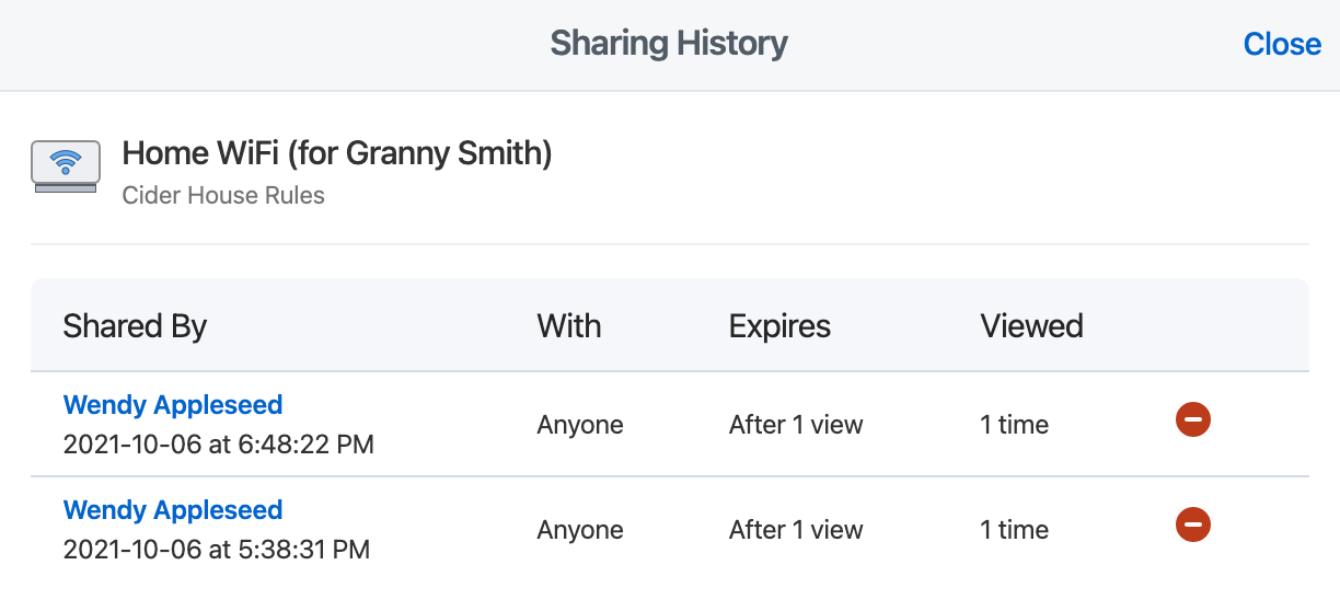 The Sharing History for the demo wifi account with two active shared links listed.