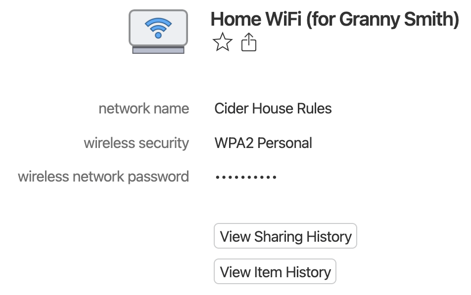 Item details for a demo Home WiFi account with View Sharing History button.