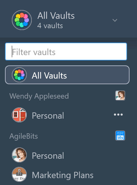 vaults in the sidebar