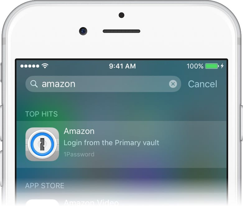 Spotlight search on an iPhone showing the Amazon login for 1Password