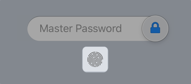 Botón de Touch ID en 1Password para iOS