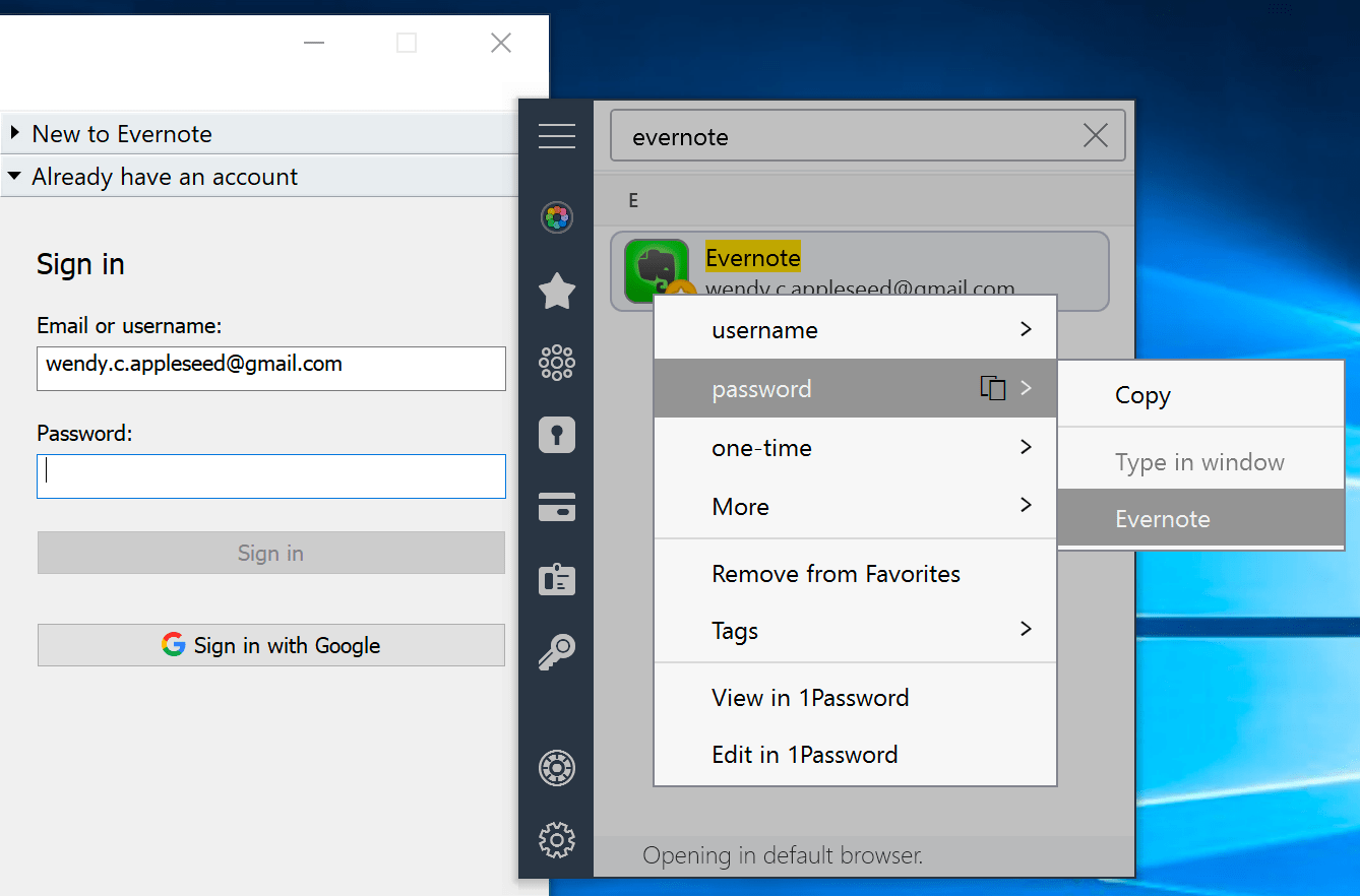 Use 1Password mini to fill details in apps
