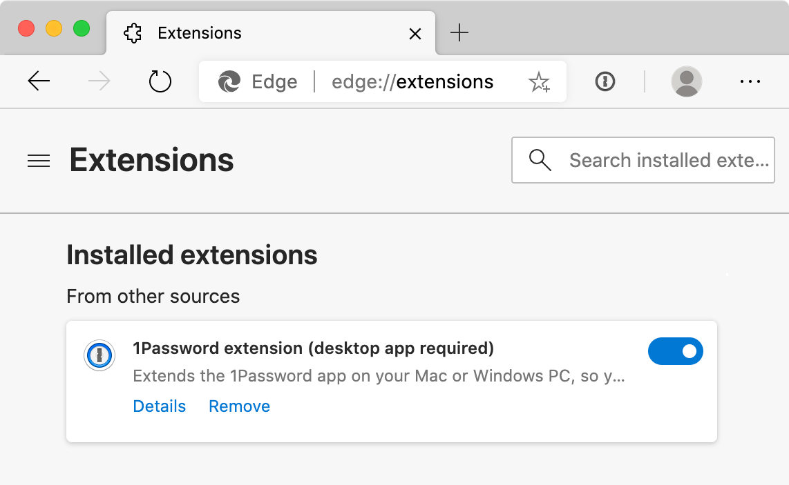 1Password on the Microsoft Edge Extensions page