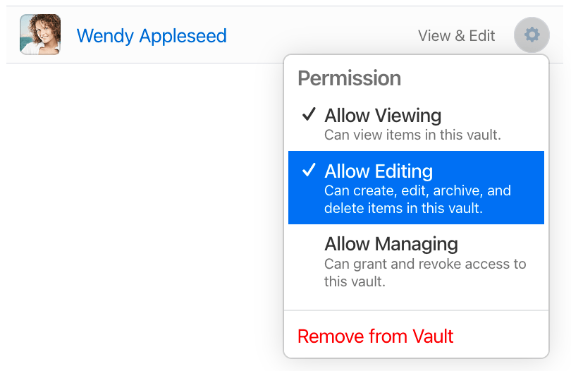 Give a family member the Allow Editing permission so they can restore vault items